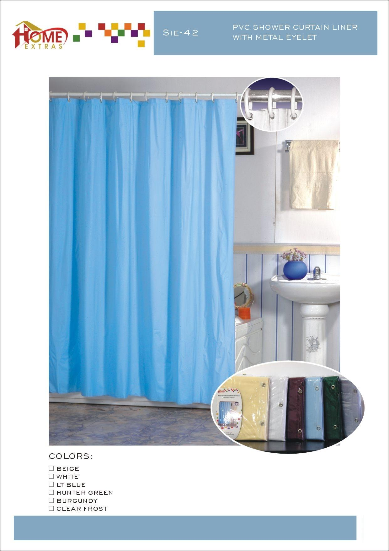 Solid teal shower curtain - Sie 4 Solid Shower Curtain With Ring
