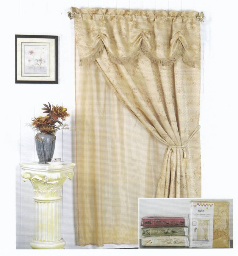 Poly Cotton Window Curtain With Valance & Liner